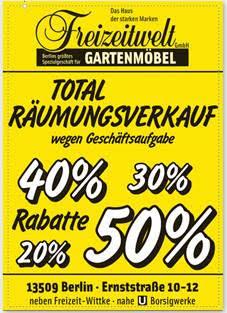 Gartenmöbel Abverkauf in Tegel